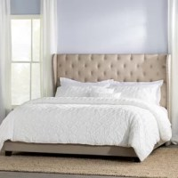 Bring a bit of traditional style and understated glamour to your master suite or guest bedroom with this upholstered panel bed! Founded atop a solid wood frame, it's wrapped in foam-filled, 100% linen upholstery. The wingback headboard adds an eye-catching touch to the bed, while button-tufting and nailhead trim adds definition and character. Dark brown wooden legs anchor the design, which is complete when you add a low-profile box spring and mattress of your choice!