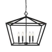 For a bit of farmhouse chic style and a whole lot of illumination, look no further than this chandelier! Its openwork frame is crafted from metal, taking on a geometric silhouette that resembles a diamond. Within, four candle-style sockets accommodate 60 W bulbs (not included) to cast a warm, relaxing glow throughout your space. Measuring 21'' H x 23'' W x 23'' D, this piece fits into entryways and above dining tables alike.