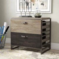 Pairing a steel frame with wooden drawers, this filing cabinet offers the appeal of industrial design while keeping your important documents organized and safely stored away. It features two legal-size drawers made from manufactured wood, one of which boasts a distressed gray finish while the other showcases a weathered, charred wood coloring. Each drawer has rectangular pulls, and the rectangular tabletop is a great place to display photos, plants, or your favorite accent piece.