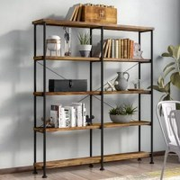 At home in brick-built lofts, converted warehouse apartments, and anywhere books abound, this etagere brings the industrial character (and plenty of storage) to the spaces that need it most. This piece's factory-chic frame is made of steel and finished in black, while manufactured hollow board wood shelves, complete reclaimed-inspired veneers, round out the look.
