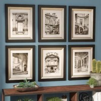 Welcome antique inspiration and French flair into any ensemble with this six-piece print set. Measuring 12'' H x 9.5'' W x 1'' D, each paper print showcases a different scene of Paris in neutral black and white hues for a vintage vibe. Each piece is set within a wooden frame in a black finish with a glazed champagne inner lip for a subtle contrast. Wall-mounting hardware is included, so this set is ready to hang right away.