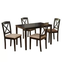 A traditional design gets a contemporary update in this stylish five-piece dining set. Made from solid rubberwood, this charming set includes a clean-lined rectangular table with tapered square legs and four classic cross-back side chairs with microfiber upholstered seats. To create a farmhouse-chic ensemble in your open concept eat-in kitchen, start by rolling out a rustic linen area rug for a pleasant pop of pattern, then place this table by a brightly-lit window to enjoy weekend breakfasts...
