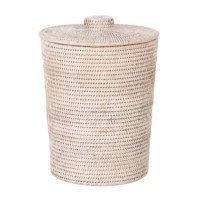 An even mix of fashion and function, this waste basket brings a bit of breezy style as it helps you keep tidy in any space. Teeming with texture, this design is woven from rattan in a neutral hue for an airy and coastal look. A lift-off lid and removable plastic insert make it easy to empty any trash. Measuring just 16'' H x 12'' W x 12'' D with the capacity to hold 3.25 gallons, this petite piece is perfect for smaller spaces like a bathroom.