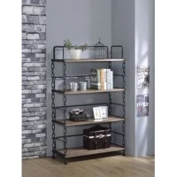Enjoy your room with this Lipscomb Industrial Looking Etagere Bookcase, features industrial metal chain with antiqued black details. Functional and attractive, its sleek contemporary style is sure to enhance the look of any room.