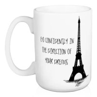 Drink your coffee, tea, or cocoa in this Oshea Go Confidently in the Direction of Your Dreams Coffee Mug. This mug is dishwasher and microwave safe. The result is a fun gift for a loved one.