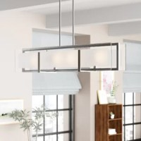 Chandeliers elevate the look of any space, just as much so, as a work of art hanging on your wall. This rectangular shaped chandelier is perfect for an entryway in need of a little illumination, a staircase seeking brightening, or a kitchen island searching for some shine, this versatile luminary is the perfect pick to add a touch of modern-style wherever you install it. It accommodates four medium-base lightbulbs of up to 100 W each (bulbs not included). This hardwired fixture is compatible...