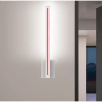 This square vertical column is a strong and commanding element, with presence and dramatic impact. Light is indirectly reflected off the surface it is mounted upon, haloing the white LED front stripe, which can be made red, blue, or yellow by an interchangeable color strip.