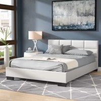 Add to the streamlined look of your well-appointed master suite with this bed, a neutral but on-trend pick. Its all-wood frame is wrapped in faux leather, showcasing a tasteful grid-tufted design on the headboard, while four block feet solidify the look. For support, slats provide a stable foundation for the mattress of your choice while eliminating the need for a traditional box spring. Plus, the center supports offer even more safety.