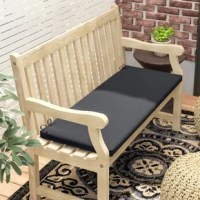 Add a layer of comfort to an indoor or outdoor seating arrangement with this handy bench cushion. Made in the USA, it features fade- and stain-resistant polyester upholstery wrapped around fill of the same material. The overall design is moisture- and weather-resistant, so it's safe to leave outdoors all year long. A pair of ties help keep is secure on the bench of your choice. This piece features a thickness of 2.5''.