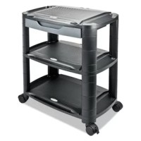 Clever all in 1 design can be used as a utility cart, monitor stand, and printer cart. Includes 3 shelves, stacking columns, drawer, and casters which can be configured any way you need such as a 2 or 3-tier cart and, or a single or double-shelf stand. Any configuration accepts the included storage drawer and casters. Unique stacking columns can be set up for minimum or maximum height. Accessory tray on each shelf for extra storage, and slot to hold phones, tablets, or your pen.