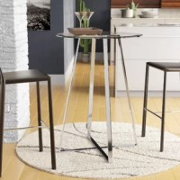 Pub tables are perfect for bar areas, or dining areas short on square footage. Take this table for example, perfectly suited for a modern aesthetic, it stands on a pedestal base and has a two-person seating capacity. The base of this piece is crafted from metal, in a silver chrome finish, with a round clear glass top. It measures 42'' H x 30'' L x 30'' W, and requires light assembly upon arrival. Chairs are not included in this table.