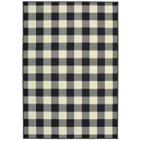 ThisWiest Plaid Black/Cream Indoor/Outdoor Area Rug is an elegant new introduction and a 100% polypropylene looped yarn made in Egypt.