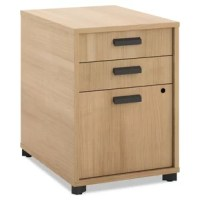 Manage desks offer innovative design and unparalleled quality for the price. This pedestal features two locking drawers and one non-locking drawer. It can be nested under a worksurface for convenient storage.