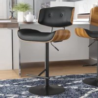 Whether pulled up to your kitchen island or grouped around a pub table, this bar stool is the perfect perch. Crafted from metal with a black finish, its frame features a pedestal base with an adjustable height (25'' to 24'' in height) that can fit the surface of your choice. Its curved low-back seat pairs a wood grain-finished frame, made more comfortable with non-fussy faux leather upholstery in a black hue with tufted accents.