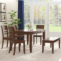 Looking to put together an on-trend dining ensemble, but don't know where to start? Skip the hassle of creating a unified look from many different pieces by with a dining set like this! This six piece set includes a table, four chairs, and a bench, all crafted from solid rubberwood with a clean-lined, understated design. The chairs feature a curving ladder back for an additional touch of classic style alongside the tapered legs and clean lines of this set. The table features a butterfly leaf...