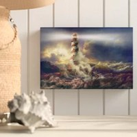 'Risky Business' is a wonderful reproduction featuring a beautiful towering lighthouse as the tide washes in. A gorgeous piece to add color to any home or office.