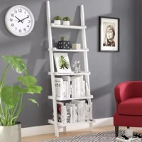 Crafted in a classic yet simple design, this ladder bookcase is sure to find its place in any room of the house. It features five shelves with open back panels that offer plenty of space for plants, collectibles, and books. Whether this piece is destined for the living room or home office, it cuts an attractive and practical figure. Made from manufactured wood, it measures 72'' H and makes a handy spot to store and display.