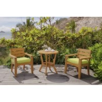 As welcoming as a gentle, inlet breeze, this 3-Piece Bistro Set with Cushions adds casual sophistication to any setting. This set is constructed of FSC certified eucalyptus wood and has a warm, teak stain. Its deep seating cushions offer a relaxed style and comfort.