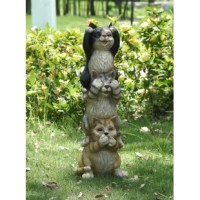 Stacking Cats statue. Features 3 adorable cats stacked upon one another. They are acting out the famous
