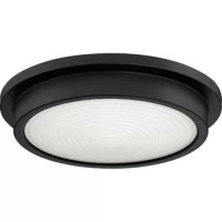 The flush mount is understated in form but not function. The concentric ring pattern on the etched glass adds an industrial touch, while evenly diffusing the integrated LED light source. The simplicity of the raised canopy is emphasized by the velvety oil-rubbed bronze finish.