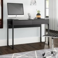 Whether tackling taxes or working on your next big novel, this writing desk is here to help. Founded atop a steel frame, this piece is crafted from manufactured wood and features a clean-lined construction that works well in any contemporary setting. Two storage drawers offer plenty of space to tuck away papers, pencils, and other office stuff, while a neutral hue allows it to blend with your color scheme. Plus, this product is backed by a limited lifetime warranty.