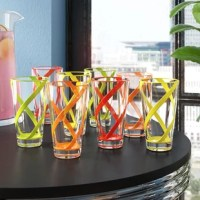 Whether you're stocking your first apartment with the staples or gearing up for a backyard BBQ, this set of six 22-ounce tumblers is the perfect pick for your home. Crafted from BPA-free acrylic plastic, each piece is less breakable than glass and safe to put in the top rack of the dishwasher for easy care, so they're an ideal option for everyday use or outdoor occasions. Band accents in green, yellow, red, and orange hues outfit these designs for a splash of color.