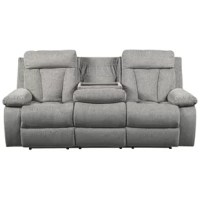 Your to-do list is complete, now it's time for ultimate relaxation. This double reclining sofa is plush in all the right places and will support you for longer than you can binge-watch your favorite TV show. The neutral upholstery is ready for a patterned throw pillow and some of your time. The middle seatback drops down into the convenient table-top with cup holders, the perfect resting spot for tablets and magazines.