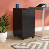 Keep important documents secure and in one spot with this clean-lined file cabinet. Crafted from metal, this piece features one pencil drawer and two letter-sized file drawers that provide a place for office essentials. The top two drawers lock for even more function, while caster wheels below offer must-have mobility.
