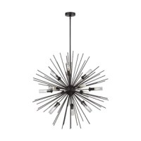 The outdoor chandelier features slim metal arms that extend out from a central hub to create an organic globe silhouette. This damp-rated fixture is perfect to modernize covered outdoor spaces. Uses candelabra bulbs covered in clear glass to protect from moisture.