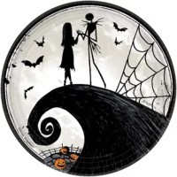 No Halloween party would be complete without the master of scare monies jack skellington gracing your tables to help host the festivities. From Disney Tim Burton's nightmare before Christmas, these frightfully delightful paper plates feature the classic scene of jack and sally on the haunted hill accented by bats, pumpkins, and a spider web. While jack may have been longing for different things, these sturdy plates will leave you longing for Halloween. Perfect for large meals.
