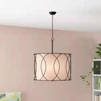 Chandeliers elevate the look of any space, just as much so, as a work of art hanging on your wall. This three-light drum chandelier is perfect for an entryway in need of a little illumination, a staircase seeking brightening, or a kitchen island searching for some shine. This versatile luminary is the perfect pick to add a touch of contemporary style wherever you install it. Crafted from metal, with an inner fabric shade, it accommodates three medium-base lightbulbs of up to 60 W each (bulbs...
