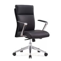 Edition both for conference room and executive application. Combining sleek elegance and ergonomic design makes this chair ideal for the office and home for all age group. This chair comes fully equipped with all the adjustment features. Synchronized mechanism and reinforced aluminum frame. Padded and upholstered in premium black leather. You can easily adjust the chair's height with the gas lift. The base is made of polished aluminum alloy with resilient castors for mobility.