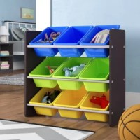 Teach your tot to tidy up with this toy storage organizer. Crafted from wood in an understated gray finish, this piece features three tiers with nine total removable bins in bright yellow, green, and blue hues for a splash of color. Since this compact design measures just 24'' H x 25.5'' W x 10.5'' D, it's small enough for your child to reach the top row with ease. Assembly is required.