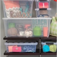 The Stack & Pull™ Plastic Box is ideal for creating a customized, modular storage system. Grooved lid allows you to store clothing, shoes, accessories, linens and more. Recessed pull handle allows for easier mobility and buckle-up latch.
