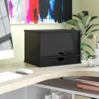 Keep our desktop clean, clear, and optimized with the help of this desktop organizer! Crafted of wood in a clean, painted finish, this organizer strikes a boxy rectangular silhouette accepted by simple moldings. Its front panel can be pulled out and recessed to reveal four shallow shelves — perfect for stowing folders, files, and mail — while a lower drawer is great for keeping office supplies.