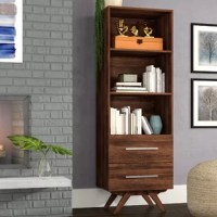 Bring function to your space without breaking the bank or sacrificing style with this budget-friendly bookcase. Founded atop splayed, solid wood legs, its clean-lined frame is made from manufactured wood with laminate in a versatile walnut finish. Three open shelves provide a place for framed photos, potted plants, and a collection of your favorite novels, while two drawers offer concealed storage for any odds and ends strewn about your abode. Measuring 71'' H x 23.6'' W x 16.75'' D, this tall...