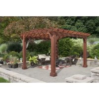 The 10 Ft. W x 12 Ft. W Solid Wood Pergola is fully constructed with treated southern yellow pine. It stands on laminated 8x8 posts with decorative post skirts to cover the anchor brackets (included). The three-piece 2 x 6 arched joists span across the side and the 2 x 4 Top purlins span the length. Each intersection is notched to lock the top together to resist warping. The dual-ply header carries the roof and keeps the pergola looking its best.