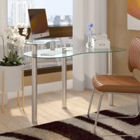 Whether you're looking to create a dedicated study, or just make the most out of an unused living room corner, your desk is central to your workspace, whatever it looks like. Perfect for giving you space to tackle your to-do list in modern style, this piece features a kidney-shaped, tempered glass surface founded on three legs. A matching upper shelf is included, perfect for housing a monitor or clearing desktop clutter. Measuring 30'' H x 45.5'' W x 23.5'' D, this desk is a space-conscious...