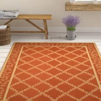 100% pure virgin wool pile, hand-hooked to a durable cotton backing. American Country and turn-of-the-century European designs. This Kinchen Hand-Hooked Wool Rust Area Rug is handmade in China.