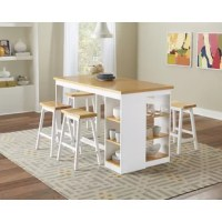 This Espanola 5 - Piece Counter Height Dining Set is rubberwood with rubberwood veneers. Finished in walnut and chocolate or oak and white. Storage features shelving with 2 adjustable shelves.
