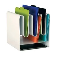 File organizer features a contemporary design that allows for varied storage. Using the wave design, files can be stored above and below the waves for utilization of 3 to 7 vertical file compartments. Two additional letter-size horizontal paper trays are stationed below the waves. Sturdy steel construction with durable powder-coat finish.