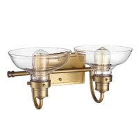 Designed to live in damp areas, like bathrooms with steamy showers, this vanity light is safe to shine over your sink. Made from metal, it pairs a rectangular backplate with a tubular arm to support a pair of lantern-inspired lights. The lights are highlighted by clear glass dome shades to create an even gleam throughout your spa-worthy space. Measuring 8'' H x 17'' W x 9'' D, it's suited for setting over a single vanity.
