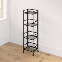 Crafted of tubular steel in a powder-coated finish, this bookcase strikes an open, airy silhouette on four slender posts. Rounding out the design, four slatted shelves provide perfect platforms for displaying rows of your favorite reads, framed photos, and collected curios. Measuring 45