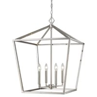 Greet guests with a warm and welcoming glow in the entryway or dress up your dining room for an upcoming dinner party with this eye-catching chandelier. Made from metal, its frame takes on a clean-lined lantern silhouette with an openwork design and a metallic finish for versatility. Four candelabra-inspired lights sit inside, exposed to create an even gleam. Overall, this fixture measures 28.5'' H x 20'' W x 20'' D.