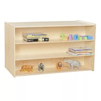 This shelving unit generous storage on both sides and a top that can be utilized as a workspace. exclusive UV finish provides unsurpassed protection.