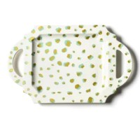 From the shape fashioned from a ball of clay to the colors, patterns, and textures, this artfully designs this tray from start to finish. Double the dots, double the entertaining fun. The Double Dot Handled Serving Tray features an organic overlay of gold and mint dots that are beautifully displayed on the deeper sized piece. Hold your next creation with confidence.