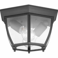A finish complements clear, beveled glass in this outdoor lantern collection. Featuring an aluminum construction and clear, beveled glass panels, the flush mount fixture is suitable for traditional indoor or outdoor settings. An open bottom design allows easy access to replace light bulbs.