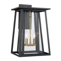 """This collection exhibits a unique wall lantern that is perfect for adding supplemental lighting to any outdoor living space. The Transitional tone allows the lantern to stand out as both functional and decorative as it lights up any outdoor setting. This 17"""" Wall Lantern is minimalist in design but grand in style. This timeless fixture will enhance the appearance of a home's exterior with its clear glass sides and clean, crisp lines."""