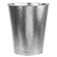 Graceful form, a hammered finish, and a gleaming silver finish make this trash bin a dashing piece of functional art. Use it to toss paper work or light trash. With its lidless design, you can say sayonara to irritating clattering and banging that occurs when opening or closing the bin. Perfect to use on its own  or with a bag liner. Holds up to 1.32 gallons of trash.
