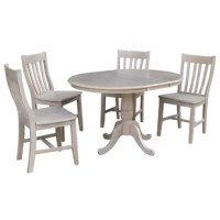 Petra Extendable Pedestal 5 Piece Solid Wood Dining Set